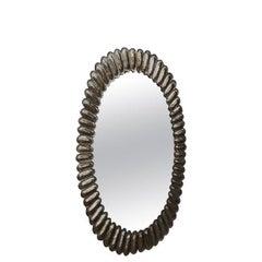 Midcentury Murano Oval Silver Art Glass and Brass Italian Wall Mirror, 1950