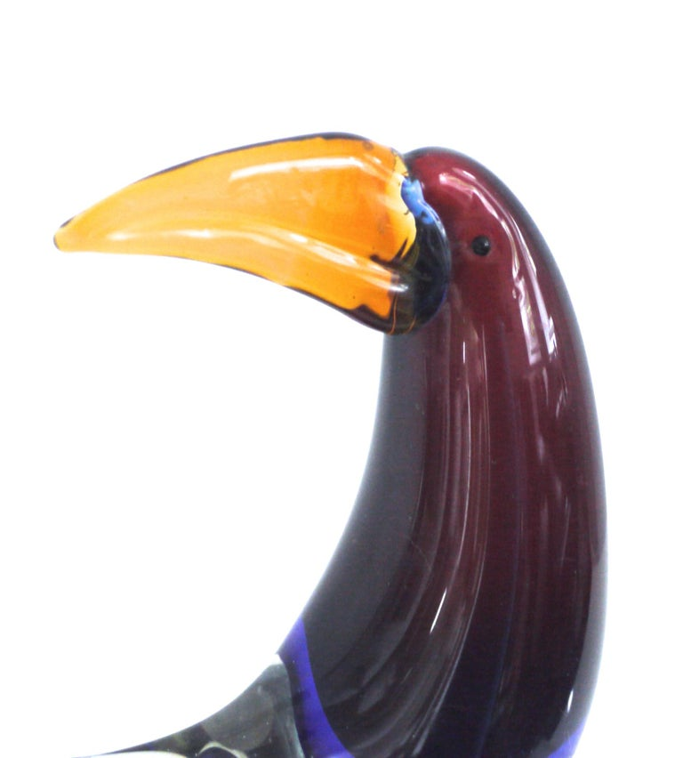 Mid-Century Modern Midcentury Murano Sculpture of a Toucan in the Style of Licio Zanetti Late 1970s For Sale