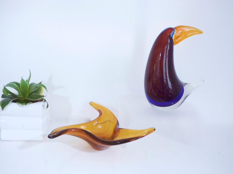 Late 20th Century Midcentury Murano Sculpture of a Toucan in the Style of Licio Zanetti Late 1970s For Sale