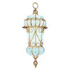 Midcentury Murano Seguso Opaline Art Glass Caged Pendant Light, Brass, 1950s