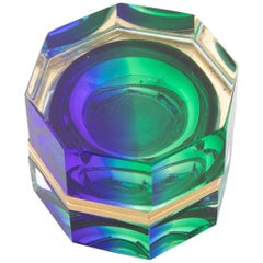 Midcentury Murano Sommerso Octagonal Glass Box Rare Blue to Green to Clear