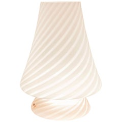 Midcentury Murano Vistosi Seguso Blown Art Glass Pink Lingham Table Lamp