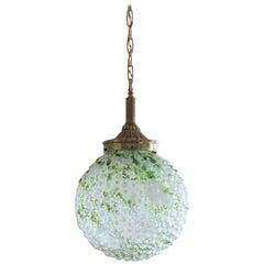 Midcentury Murano White Green Glass Ball Pendant, Italy 1950-1959