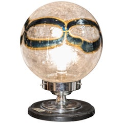 Midcentury Murano whiteblueyellow blown glass globe table lamp Italy 1970