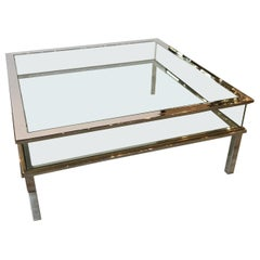 Midcentury Museum Top Chrome Brass and Glass Coffee Table