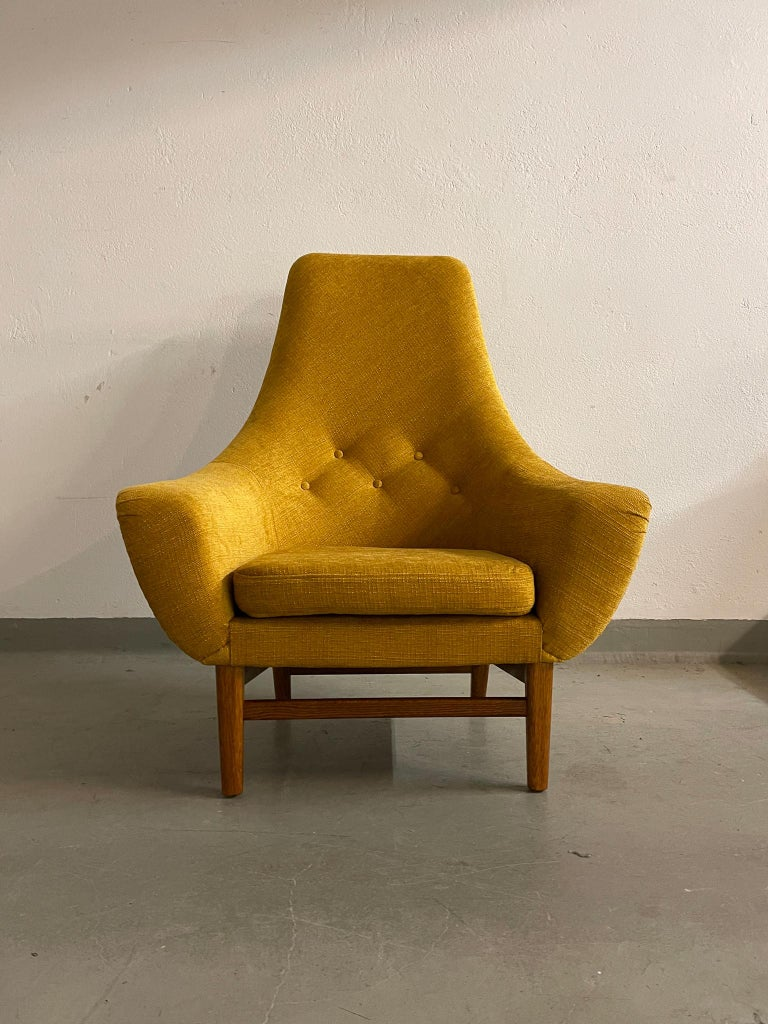 Midcentury Mustard Colored Lounge Chair S.M. Wincrantz, Sweden 5