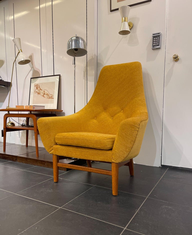 Midcentury Mustard Colored Lounge Chair S.M. Wincrantz, Sweden 8