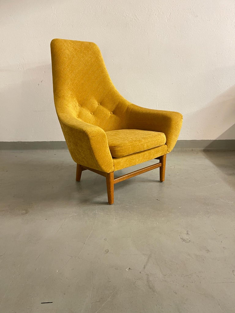 Swedish Midcentury Mustard Colored Lounge Chair S.M. Wincrantz, Sweden