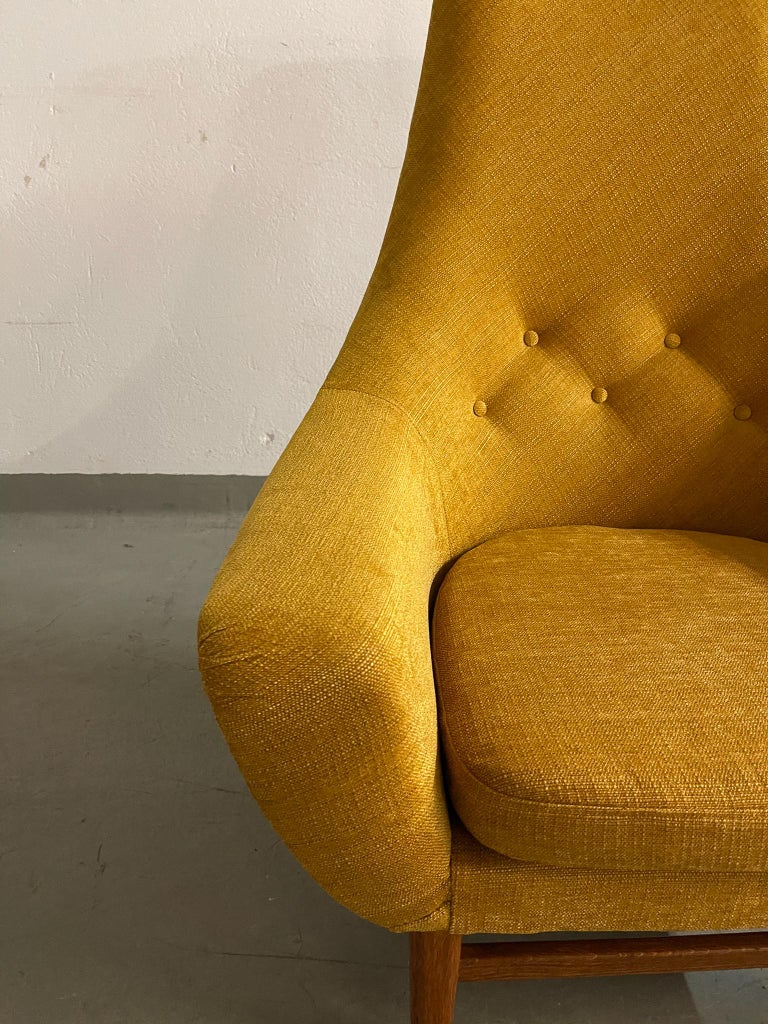 Midcentury Mustard Colored Lounge Chair S.M. Wincrantz, Sweden 1