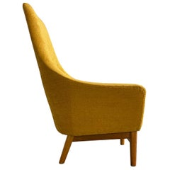 Midcentury Mustard Colored Lounge Chair S.M. Wincrantz, Sweden