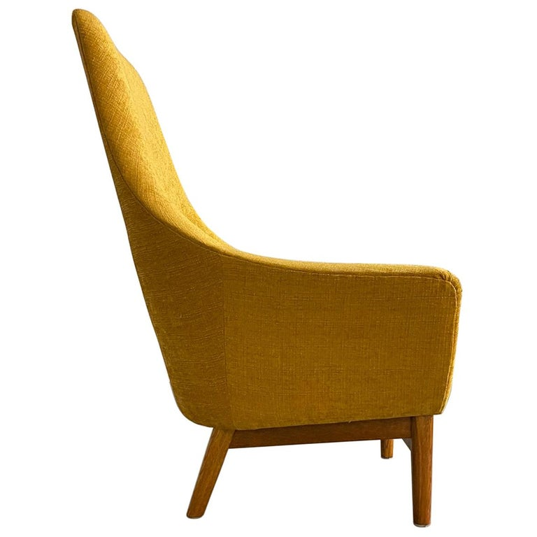 Midcentury Mustard Colored Lounge Chair S.M. Wincrantz, Sweden