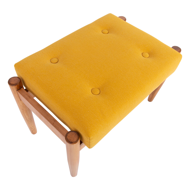 Midcentury Mustard Yellow Vintage Stool, Edmund Homa, 1960s