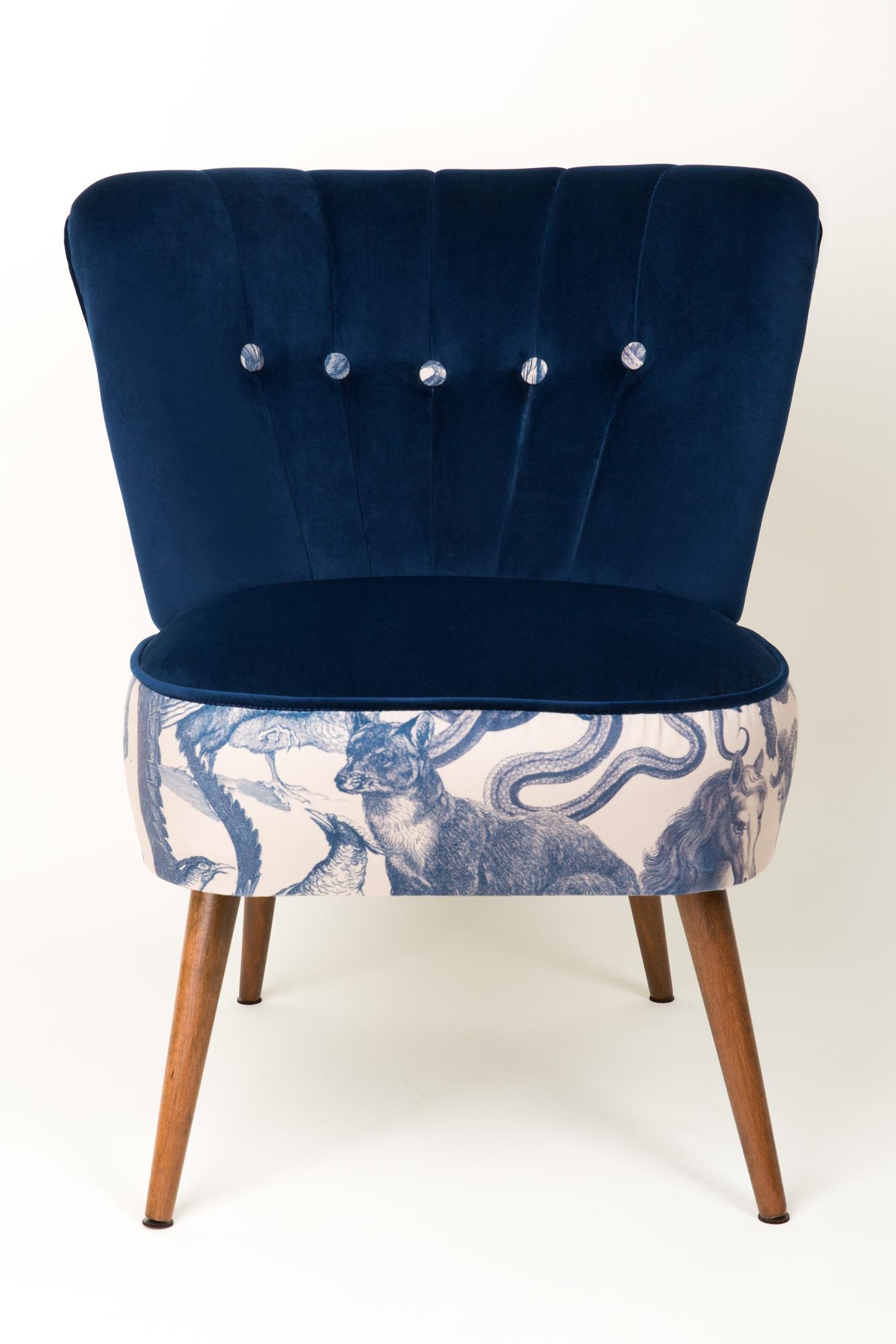 Midcentury Navy Blue Velvet Armchair, Animal Pattern, Germany, 1960s For  Sale 2