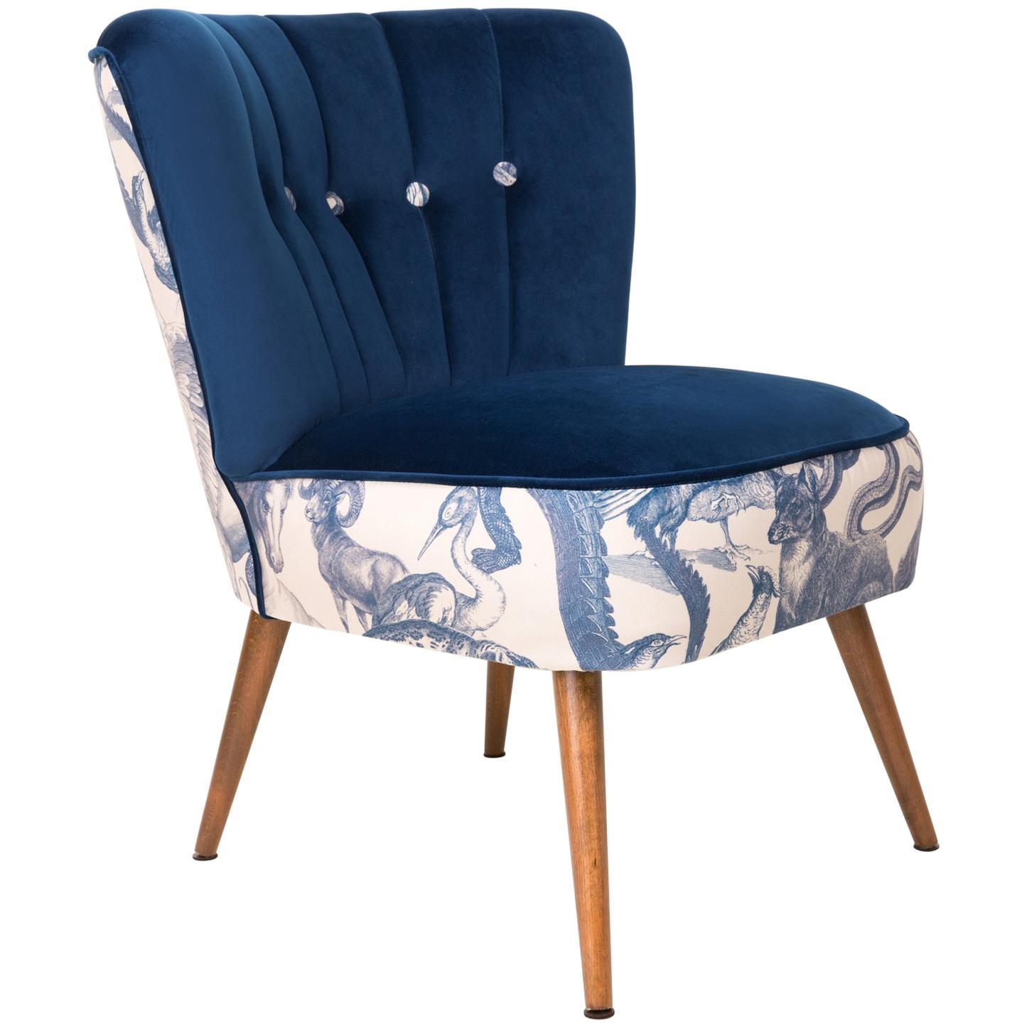 Midcentury Navy Blue Velvet Armchair, Animal Pattern, Germany, 1960s For  Sale