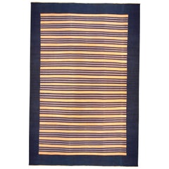 Midcentury Navy Blue with Apricot Yellow Indian Dhurrie Rug
