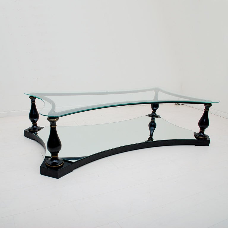 Mexican Midcentury Neoclassical Black Iron Brass and Glass Coffee Table by Arturo Pani For Sale