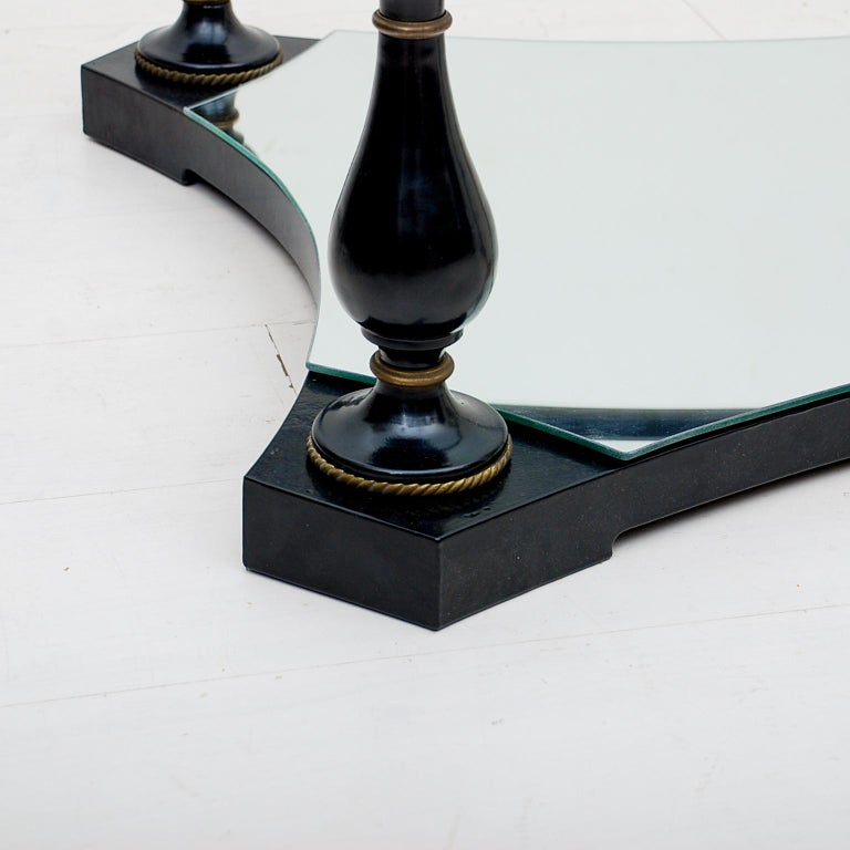 Midcentury Neoclassical Black Iron Brass and Glass Coffee Table by Arturo Pani In Good Condition For Sale In National City, CA
