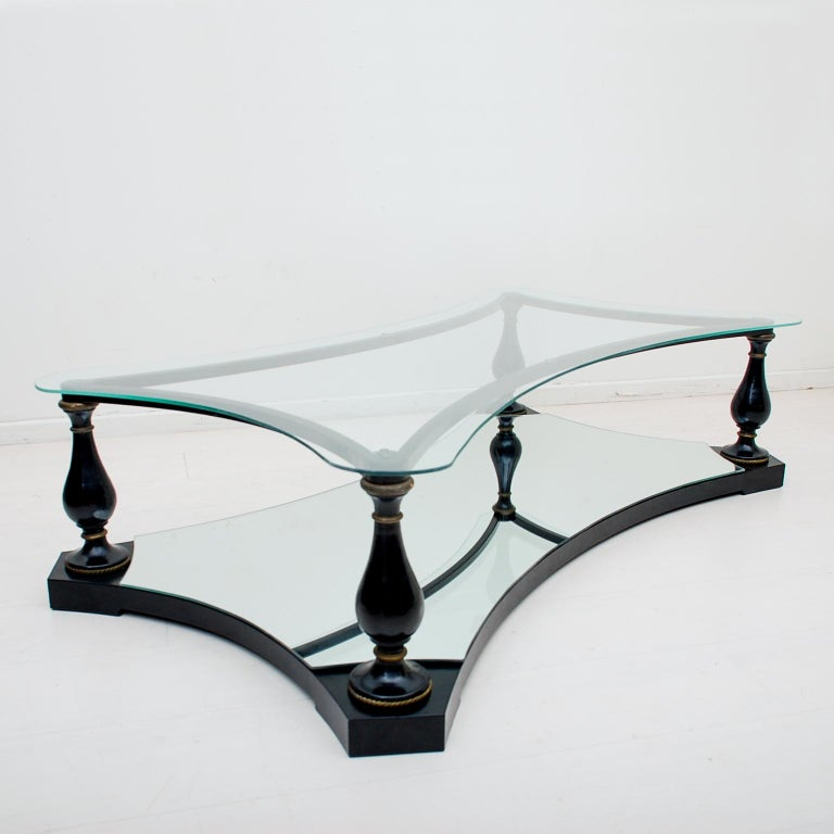 Mid-20th Century Midcentury Neoclassical Black Iron Brass and Glass Coffee Table by Arturo Pani For Sale