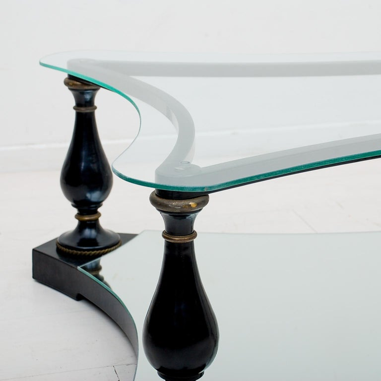 Aluminum Midcentury Neoclassical Black Iron Brass and Glass Coffee Table by Arturo Pani For Sale