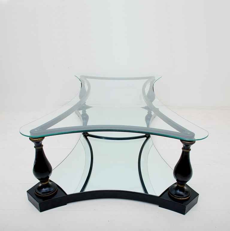 Midcentury Neoclassical Black Iron Brass and Glass Coffee Table by Arturo Pani For Sale 1