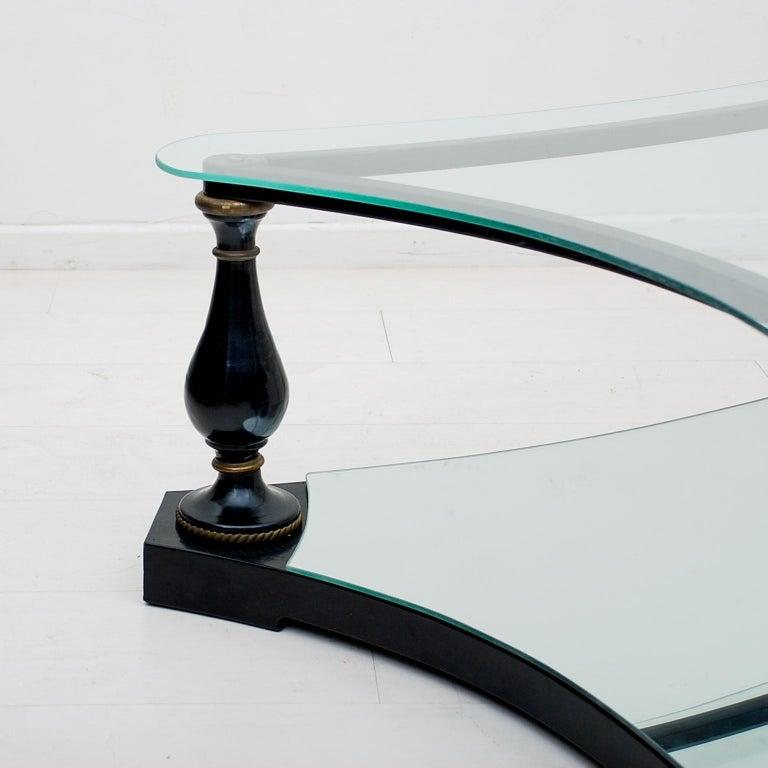 Midcentury Neoclassical Black Iron Brass and Glass Coffee Table by Arturo Pani For Sale 2