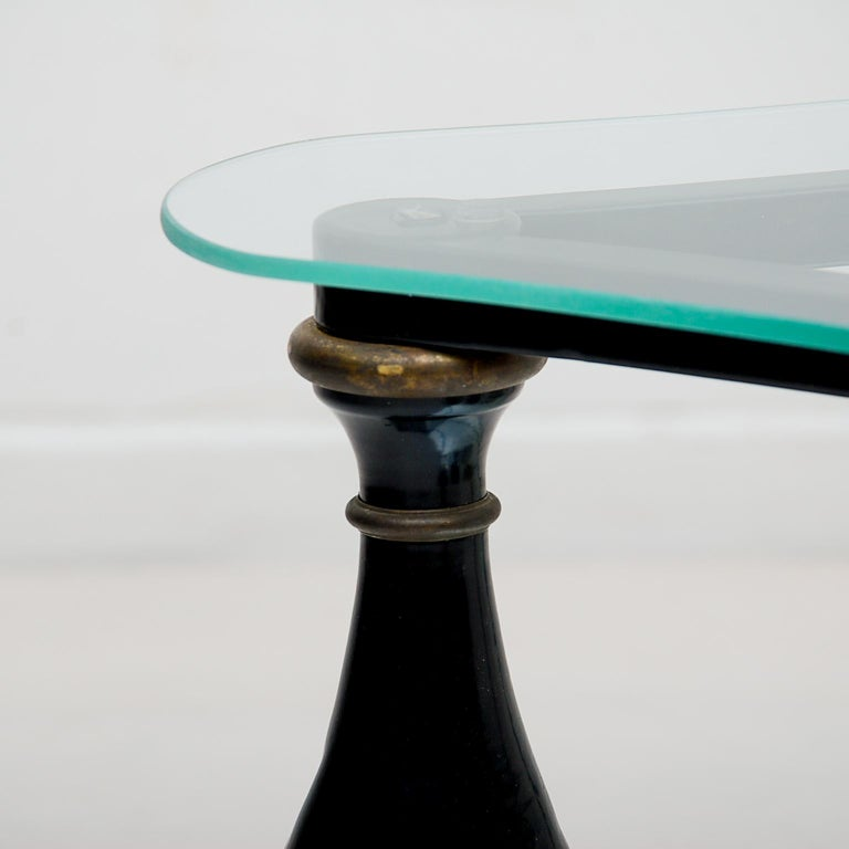 Midcentury Neoclassical Black Iron Brass and Glass Coffee Table by Arturo Pani For Sale 3
