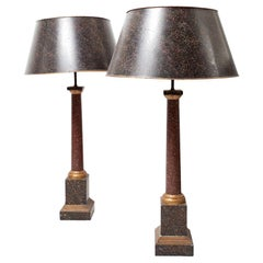 Midcentury Neoclassical Metal and Faux Phorphyry Table Lamps Jansen Style, Pair