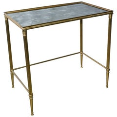 Midcentury Neoclassical Style Brass and Mirrored Side Table