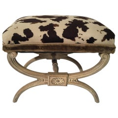 Midcentury Neoclassical X-Bench with Faux Cowhide Animal Print Upholstery