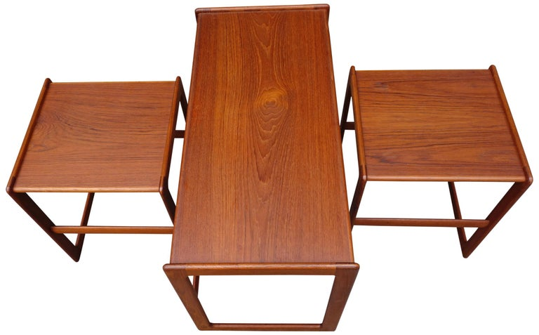 Midcentury Nesting Tables by Arne Hovmand Olsen for Mogens Kold In Good Condition For Sale In BROOKLYN, NY