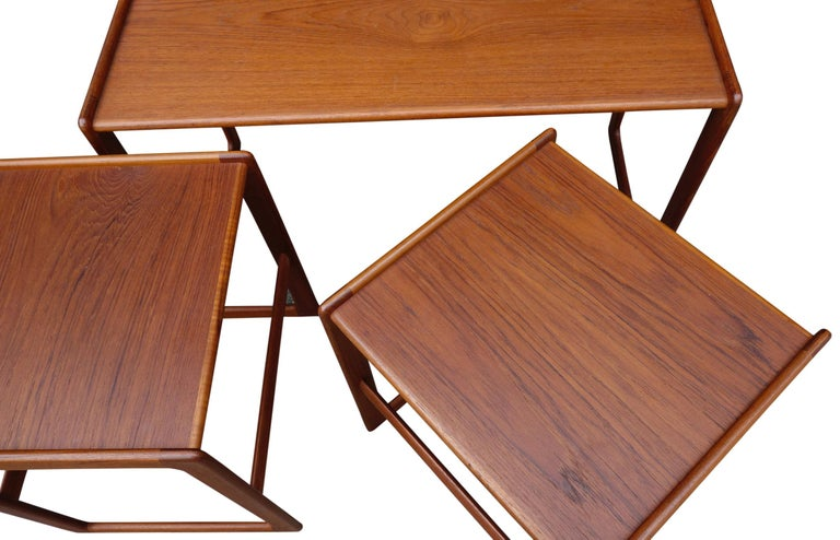 20th Century Midcentury Nesting Tables by Arne Hovmand Olsen for Mogens Kold For Sale