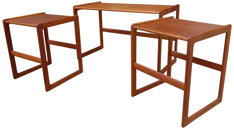 Teak Midcentury Nesting Tables by Arne Hovmand Olsen for Mogens Kold For Sale