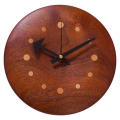 Midcentury New Hope Style Walnut and Beech Wall Clock