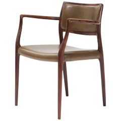 Midcentury Niels O. Møller '65' Armchair with Olive Green Leather Seat and Back