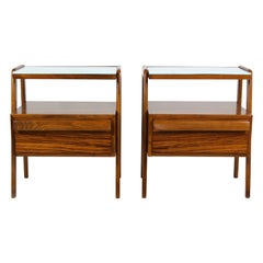 Midcentury Nightstands with Blue Glass Tops from Jitona, 1960s, Set of Two