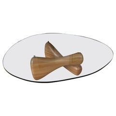 Midcentury Noguchi Style Biomorphic Glass Coffee Table