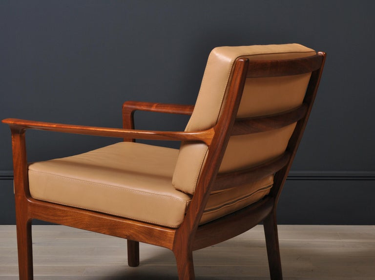 Midcentury Nordic Lounge Chairs, Teak & Leather For Sale 4