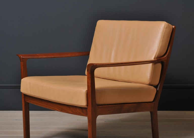 Midcentury Nordic Lounge Chairs, Teak & Leather For Sale 6