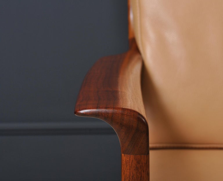 Midcentury Nordic Lounge Chairs, Teak & Leather For Sale 7
