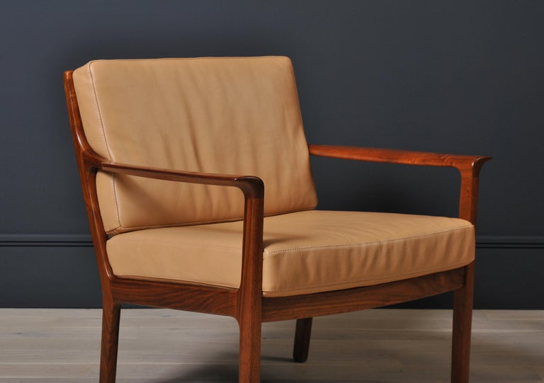 Midcentury Nordic Lounge Chairs, Teak & Leather In Good Condition For Sale In London, GB