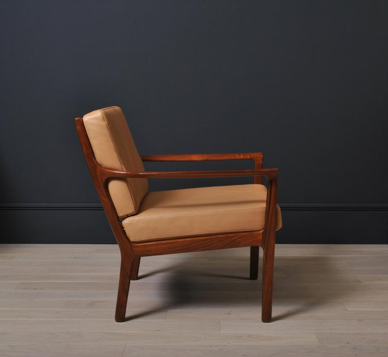 20th Century Midcentury Nordic Lounge Chairs, Teak & Leather For Sale