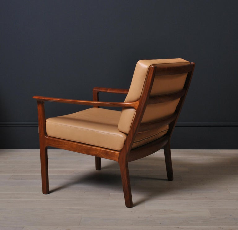 Midcentury Nordic Lounge Chairs, Teak & Leather For Sale 2