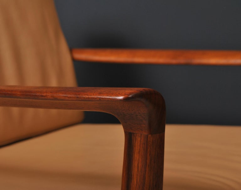 Midcentury Nordic Lounge Chairs, Teak & Leather For Sale 3