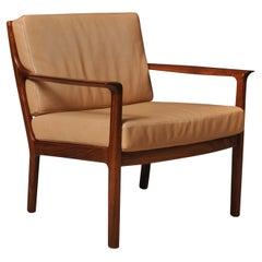 Midcentury Nordic Lounge Chairs, Teak & Leather