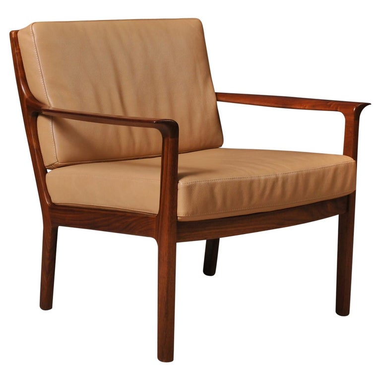 Midcentury Nordic Lounge Chairs, Teak & Leather For Sale