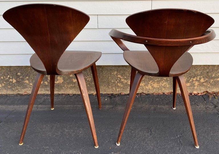American Midcentury Norman Cherner Round Table and 5 Pretzel Bentwood Chairs for Plycraft For Sale