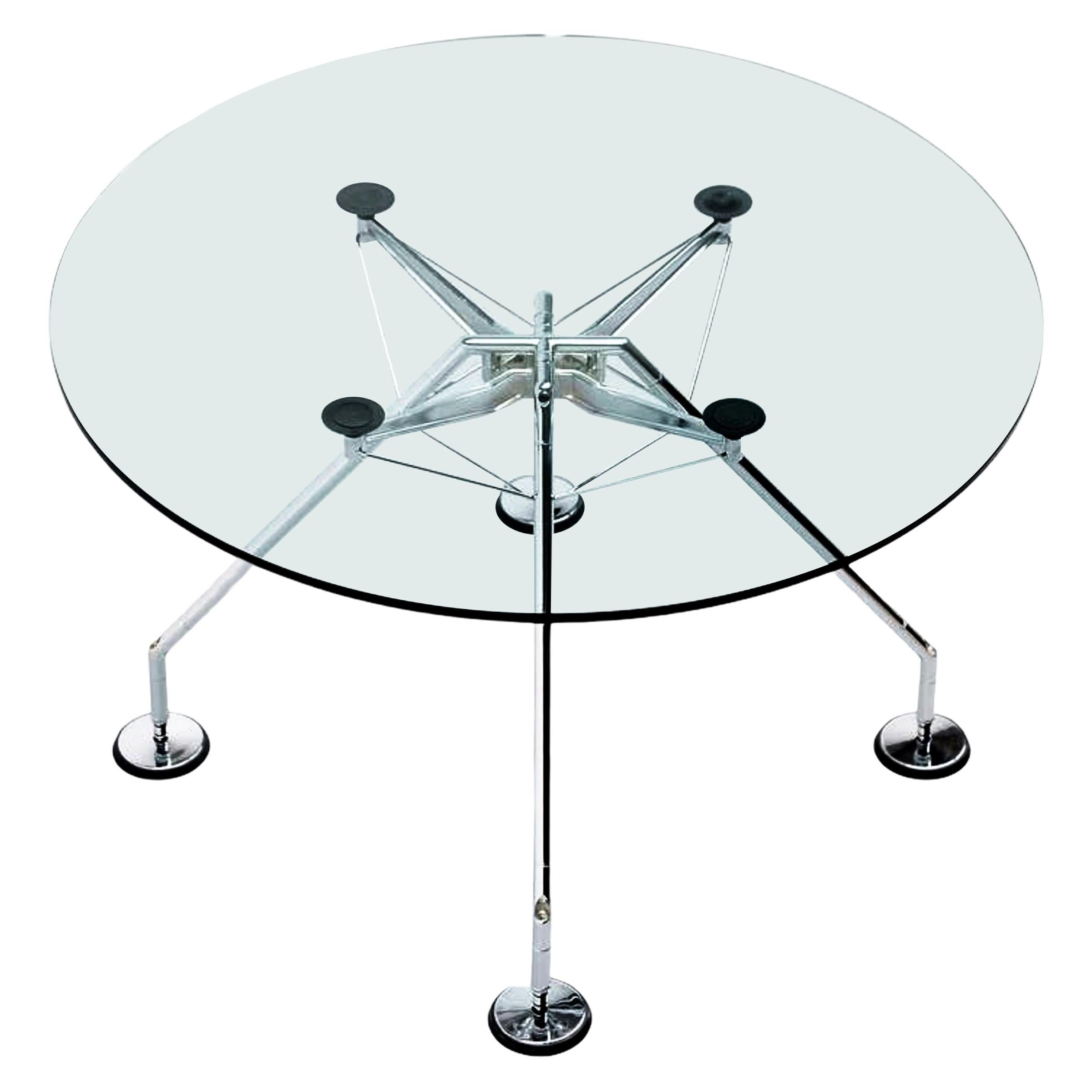"""Midcentury Norman Foster Round """"Nomos"""" Italian Dining Table for Tecno, 1987"""