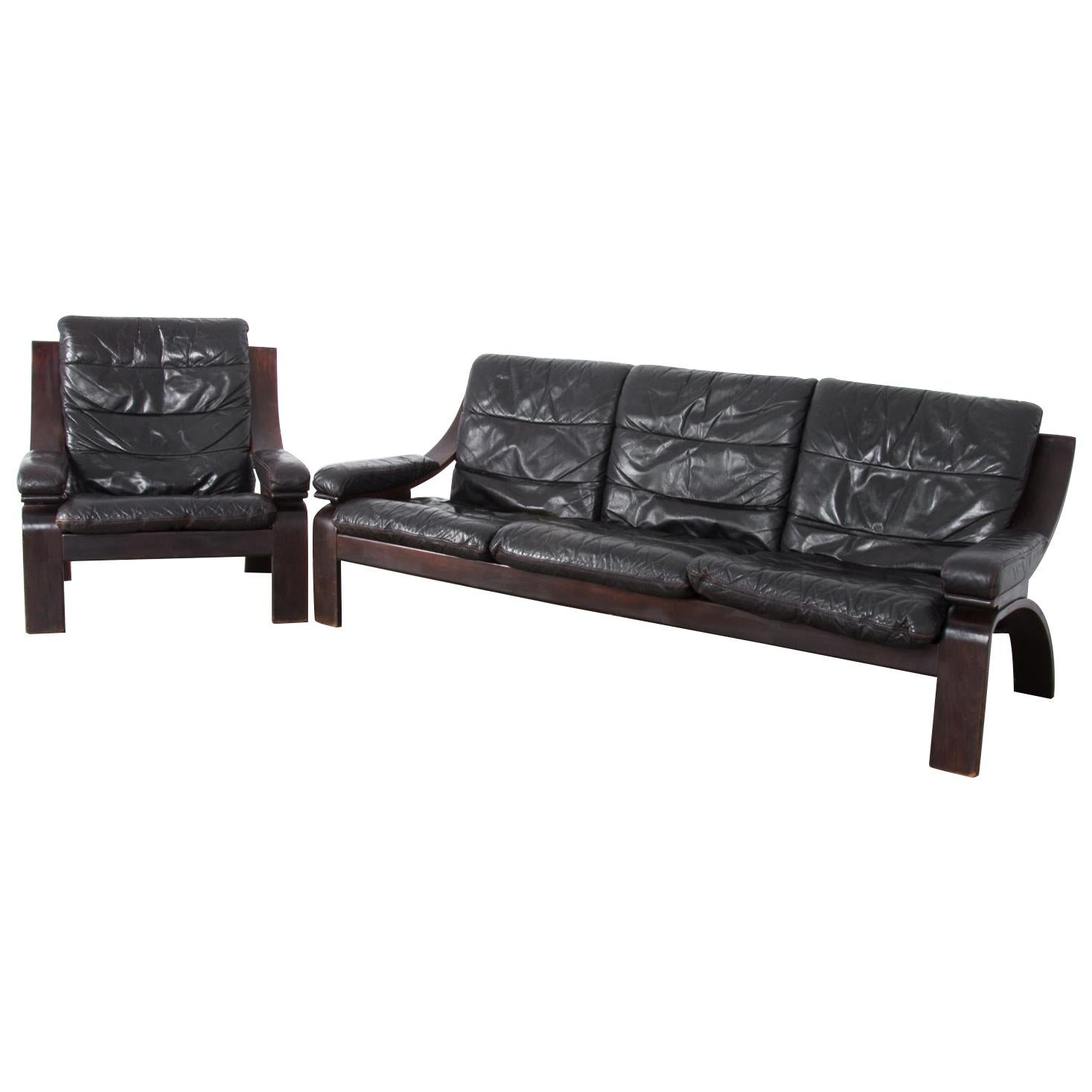 Midcentury Norwegian Leather Sofa and Armchair Set