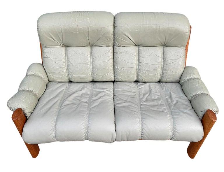 Mid-Century Modern Midcentury Norwegian Modern Ekornes Leather Teak 2 Seater Sofa For Sale