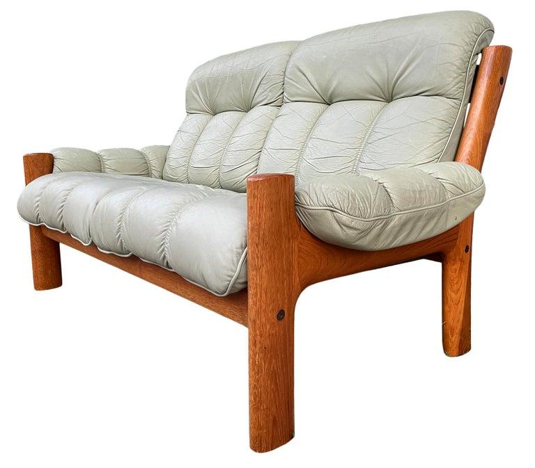 Woodwork Midcentury Norwegian Modern Ekornes Leather Teak 2 Seater Sofa For Sale